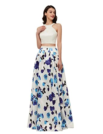 Libaosha Womens Pearls Printed Floral Dress Sexy Two Pieces Prom Dresses Long (Off White,