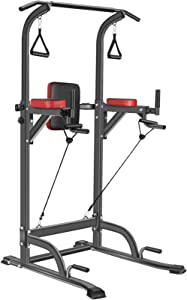 Bronze Times Power Tower Workout Dip Station Pull Up Bar Dip Stands Adjustable Height for Home Gym Strength Training Fitness Equipment 2021 Upgraded, 400LBS