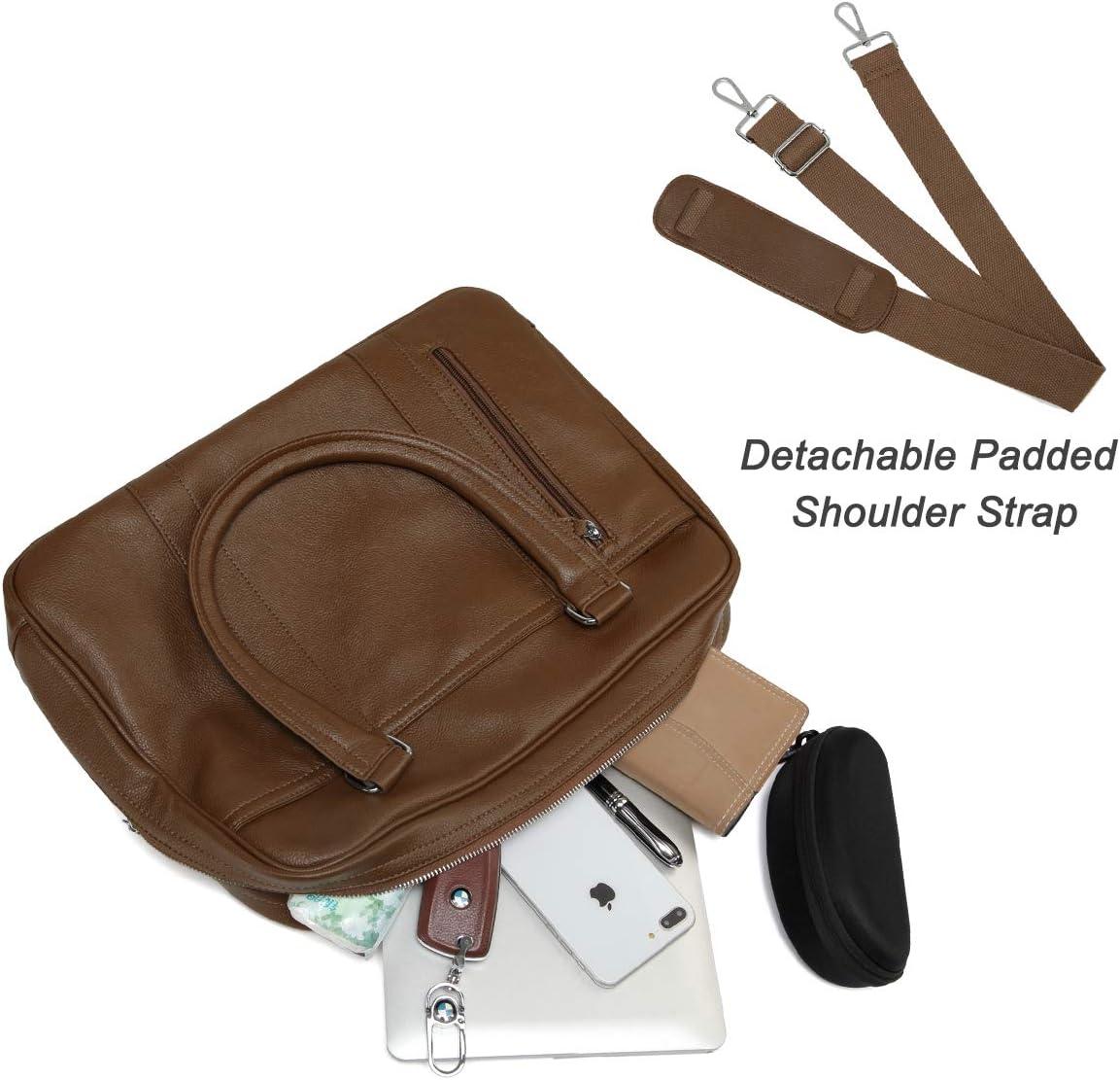 Women VASCHY PU Leather Water Resistant Business Briefcase 14 Inch Laptop Messenger Bag Shoulder Bag Classic Satchel for Work Brown Laptop Bag for Men