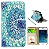 iPhone 5s Case, UrSpeedtekLive iPhone SE Wallet Case, Premium PU Leather Funny Case Flip Cover with Card Slots & Stand For iPhone 5/5S/SE, Mandala Flower Pattern
