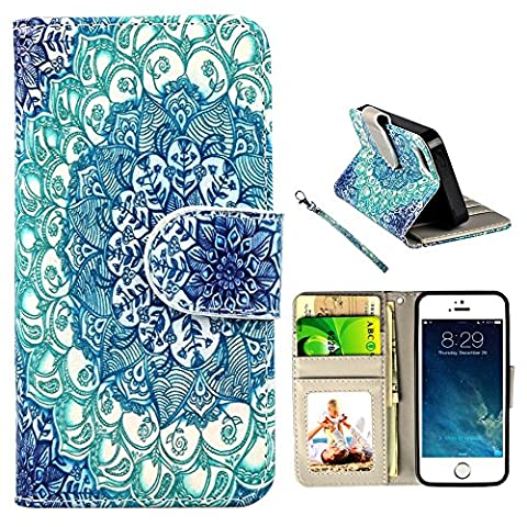 iPhone 5s Case, UrSpeedtekLive iPhone SE Wallet Case, Premium PU Leather Funny Case Flip Cover with Card Slots & Stand For iPhone 5/5S/SE, Mandala Flower - Iphone 5 Phone Case