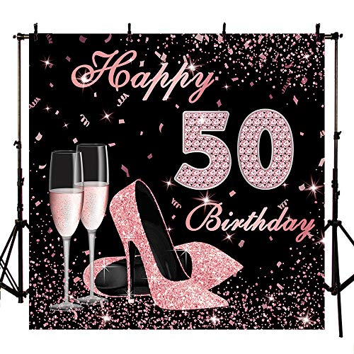 Mocsicka Happy 50th Birthday Backdrop 8x8ft High Heels
