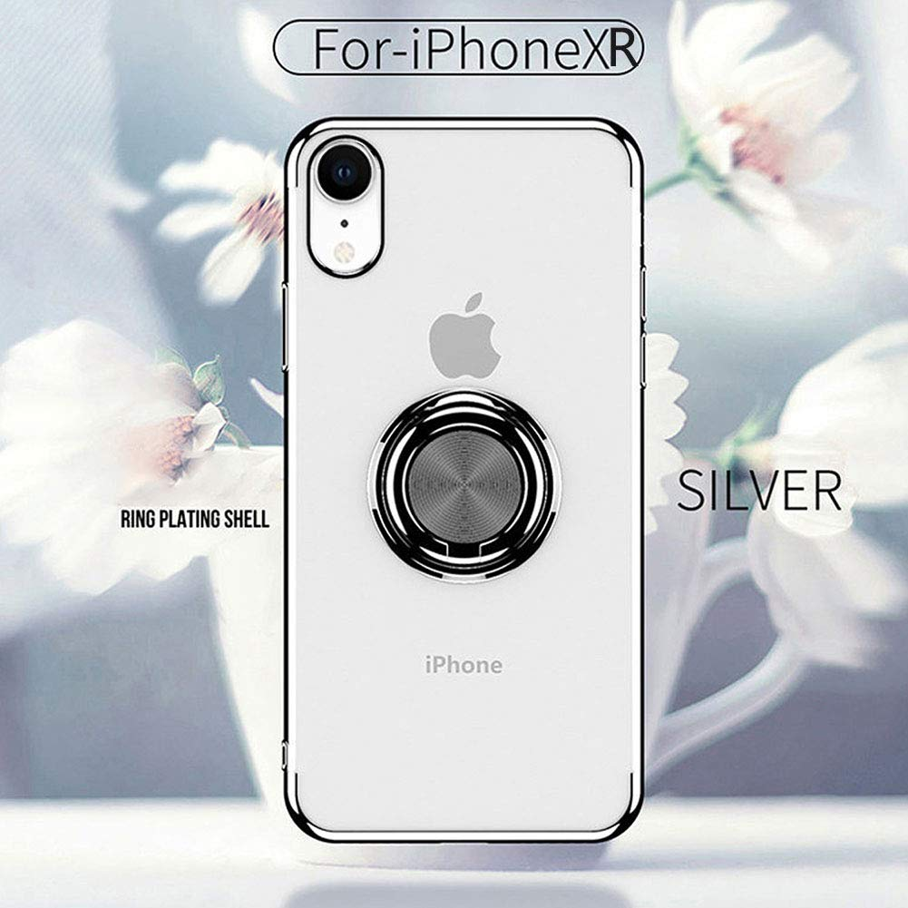 Ownest Compatible with iPhone XR Case with Built-in 360 Rotatable Ring Kickstand Fit Magnetic Car Mount and Transparent TPU Protective for iPhone XR Case- Silver-2 4351506379