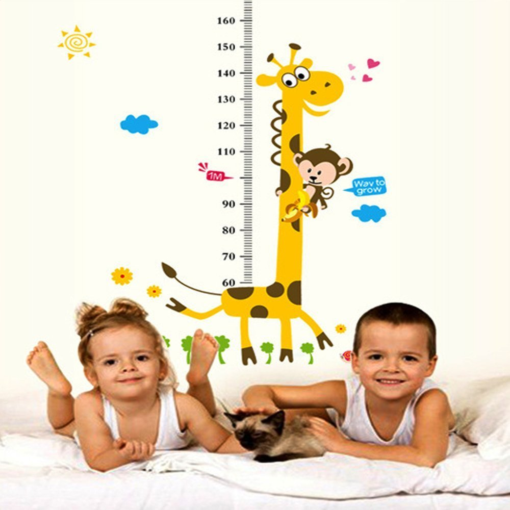 EasyGO Growth Height Chart Wall Sticker Measuring Children Baby Infant Height Chart 180cm/6 Feet, Growth Chart Tree Cute Monkey and Giraffe Wall Decal Decor for Kids Toddlers Babies Nursery Bedroom