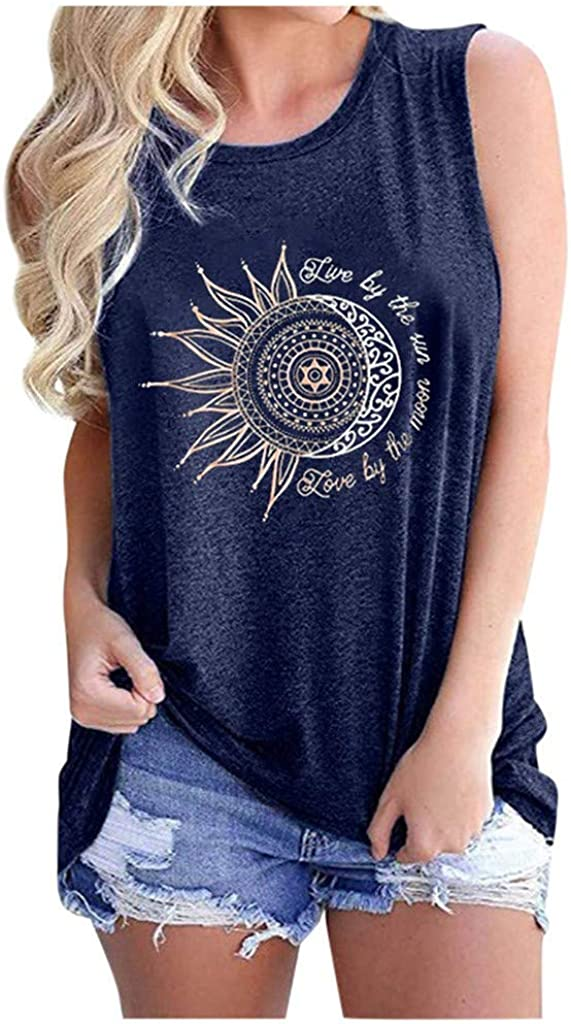 Fastbot womens Summer Casual Love by The Sun Love by The Moon Shirt Funny Printed Round Neck Short Sleeve T-Shirt