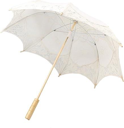 Paraguas de Sol Apoyo de Foto Sombrilla de Algodón Decoración Muchacha Nupcial Boda Partido - Beige: Amazon.es: Hogar