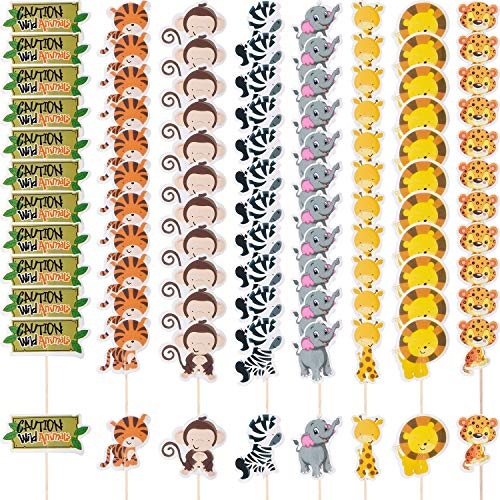 96 Pieces Cupcake Toppers Animal Cake Toppers Zoo Animal Cupcake Decoration for Zoo Themed Birthday Party Supplies