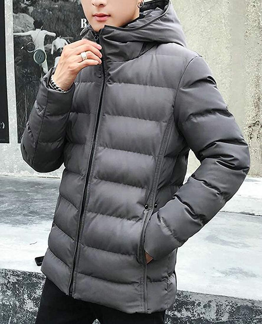 Wofupowga Mens Hooded Thick Winter Outwear Down Coat Parkas Jacket