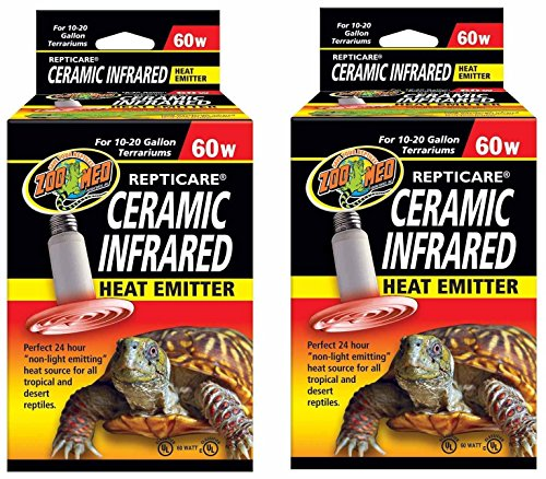 (2 Pack) Zoo Med ReptiCare Ceramic Infrared Heat Emitter 60 Watts