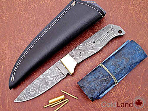 "ColdLand | 8.5"" Custom Handmade Damascus Steel Blank Blade Kit Knife Making Suppllies with Sheath, Brass Pins and Handle Scales SK102-7"