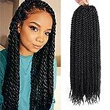 "Dingxiu (6 Packs,22 inch) Havana Mambo Twist Crochet Hair Braids Senegalese Twist Crochet Braiding Hair (22"", 1B#)"