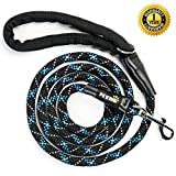 PETTRIS Heavy Duty Reflective Rope Leash for Large and Medium Dogs - 1/2 Inch Thick x 6 Foot Long - Strong Nylon Climbing Rope Lead for Big Dogs with Soft Padded Handle and O-Ring