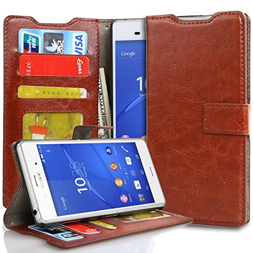 Sony Xperia Z3 Case, Pasonomi® Flip Folio [Wallet Feature] Full Body Protection Wallet Case with ID Slots, Stand Feature, and Magnetic Flap Closure for Sony Xperia Z3 Smartphone (Brown)