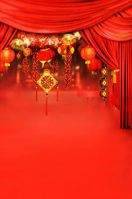 amonamour chinese new year hot red picture backgrounds happiness character print photography backdrops