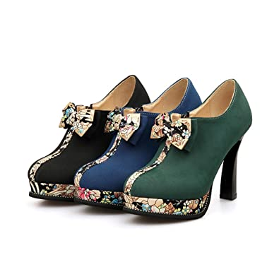 dd85475d29c Amazon.com   Women's High Heel Platform Round Toe Ankle Boots with ...