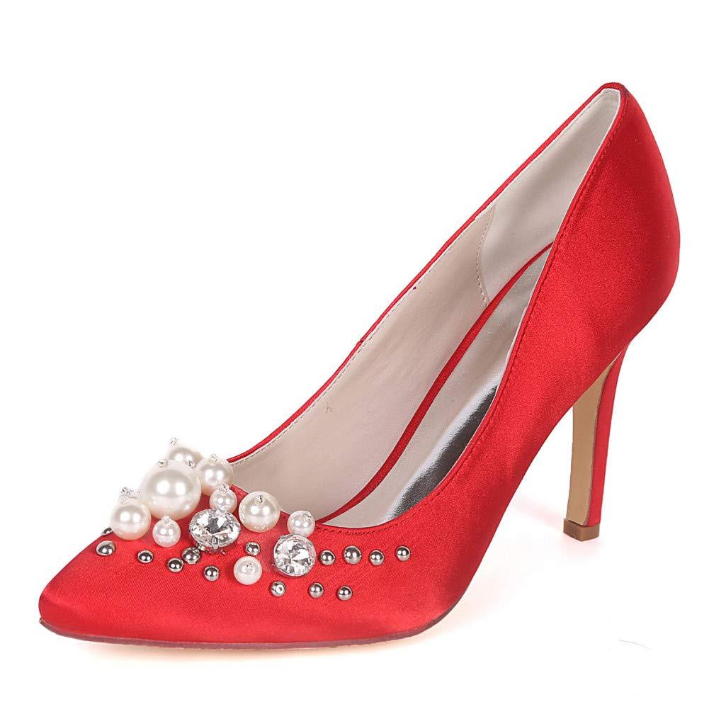Red 35 YUGUO High Heels Hot Satin Wedding High Heel Slim with New Pointy Wild Professional Dress Pearl Diamond Single shoes
