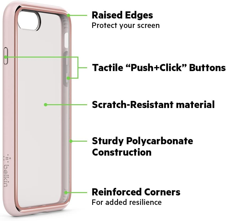 Belkin SheerForce Elite Protective Case for iPhone 8 Plus//7 Plus Polycarbonate, Drop Protection, Full Port Access Silver