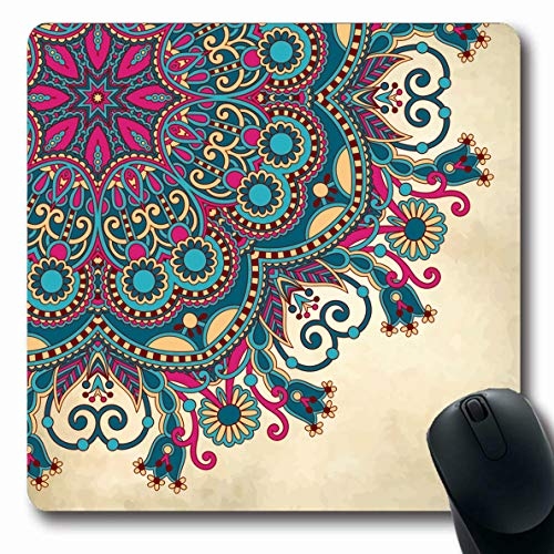 Ahawoso Mousepad Oblong 7.9x9.8 Inches Creative Paisley Flower Circle On Vintage Filigree Abstract Nature Ethnic Pattern Floral Design Lace Mouse Pad Non-Slip Rubber for Notebook Laptop PC Computer ()