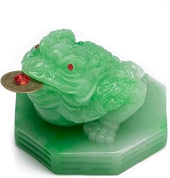 Green Jade feng shui Money frog statue Fengshui wealth decoration hand carved bi