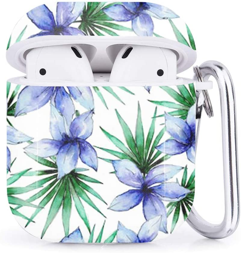 Compatible with Airpods 2 /& 1 Tropical Hawaii Leaves Plants Shockproof TPU Gel Portable Protection Soft Case Cover Skin with Carabiner Clip Keychain