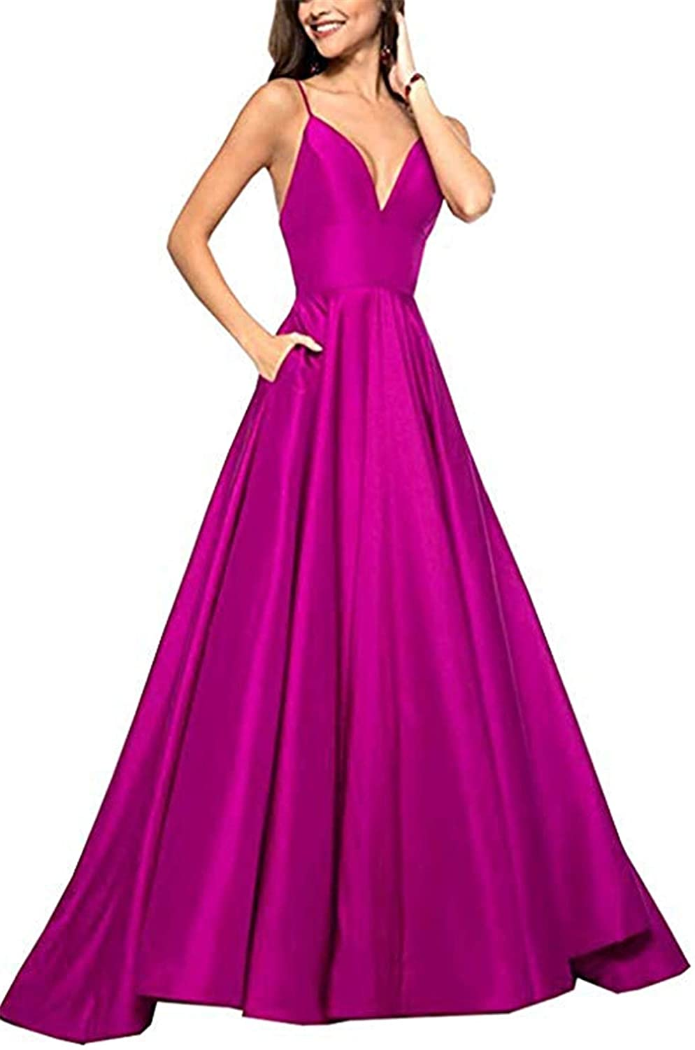 Fuchsia QiJunGe V Neck Evening Party Gown A Line Spaghetti Strap Prom Dress with Pocket