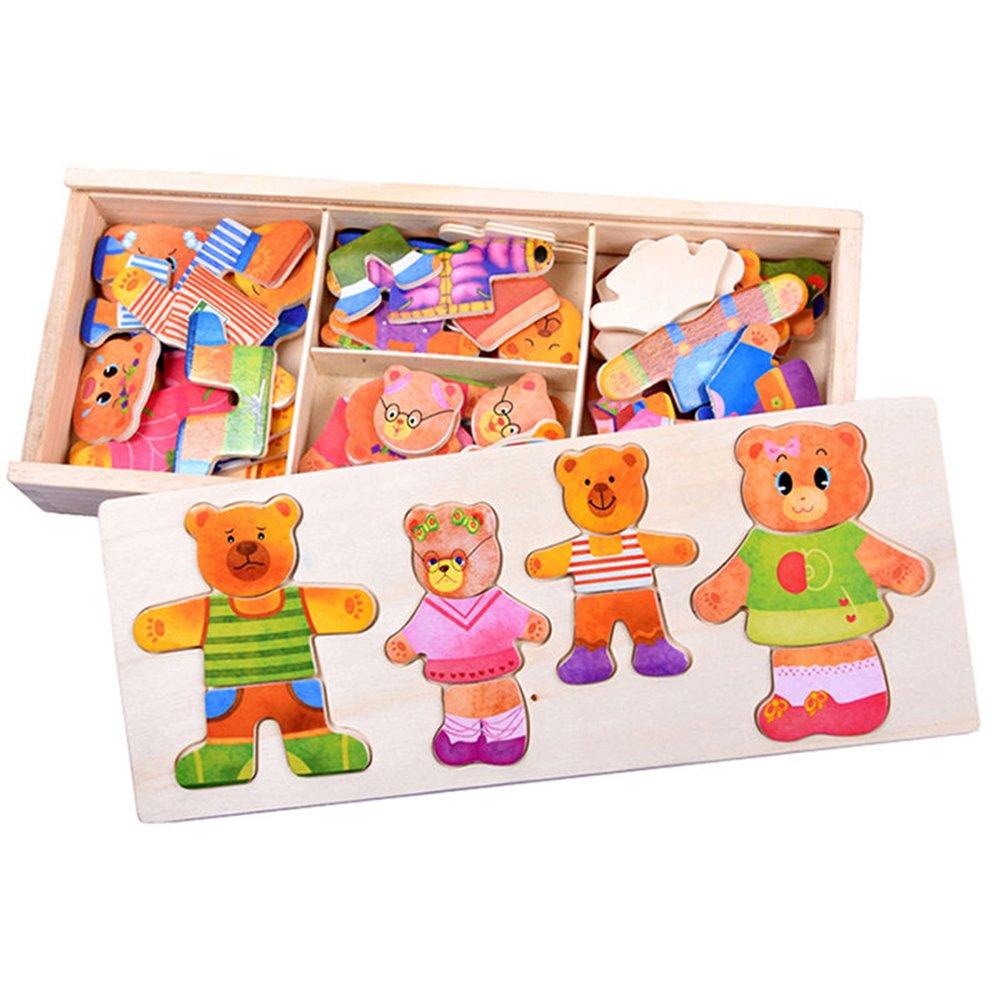 Yinpinxinmao パズル 3歳用 木製ベビー 熊 着替え パズル セット 子供 教育玩具 ギフト Z96IMTX22BKW1720660A  マルチ B07JDFV2YG