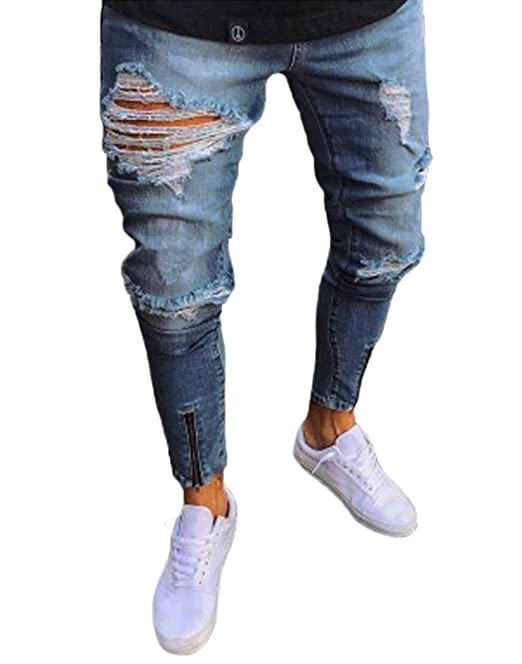 5e2993601fd5 XARAZA Men s Stretchy Ripped Skinny Biker Jeans Taped Slim Fit Denim Pants  (Blue