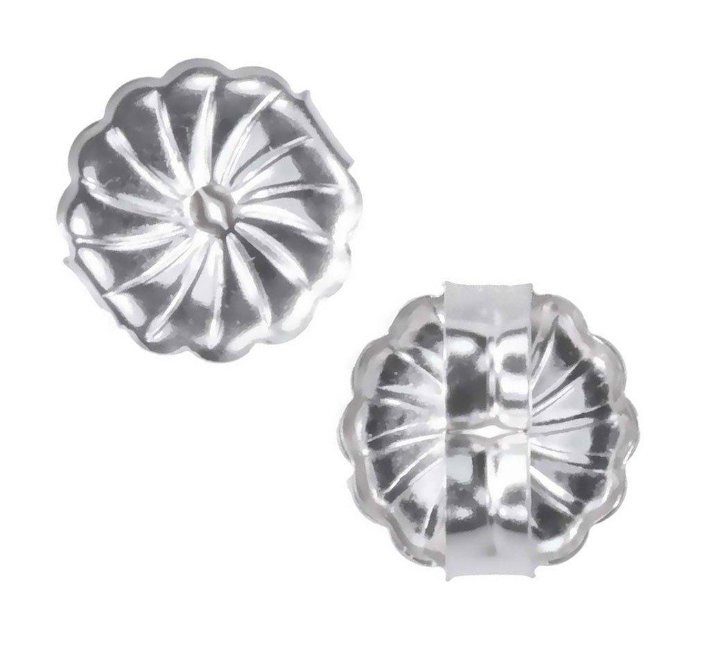 uGems 14K White Gold Swirl Earring Backs Premium Medium 7mm (1 Pair) by uGems