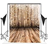 5x7ft Light Brown Wood Floor and Wall Photographer Backgrounds no Wrinkle Backdrops for Wedding wd00024