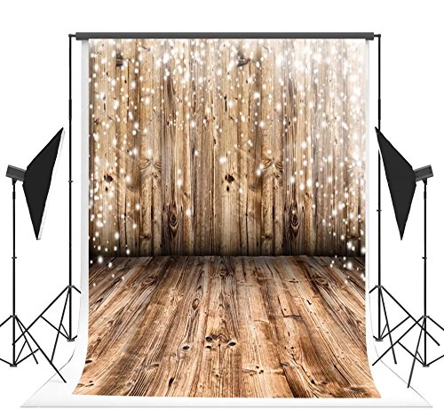 (6.5x10 ft (2x3m) Light Brown Wood Floor and Wall Photo Backgrounds no Wrinkle Photography Backdrops for Wedding wd00024b)
