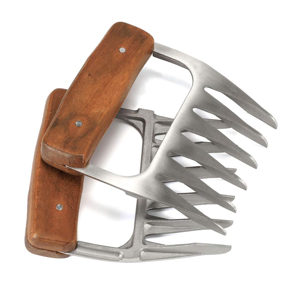 Metal BBQ Meat Claws, 18/8 Stainless Steel Meat Forks with Wooden Handle, Best Meat Claws for Shredding, Pulling, Handing, Lifting & Serving Pork, Turkey, Chicken, Brisket (2 Pack)
