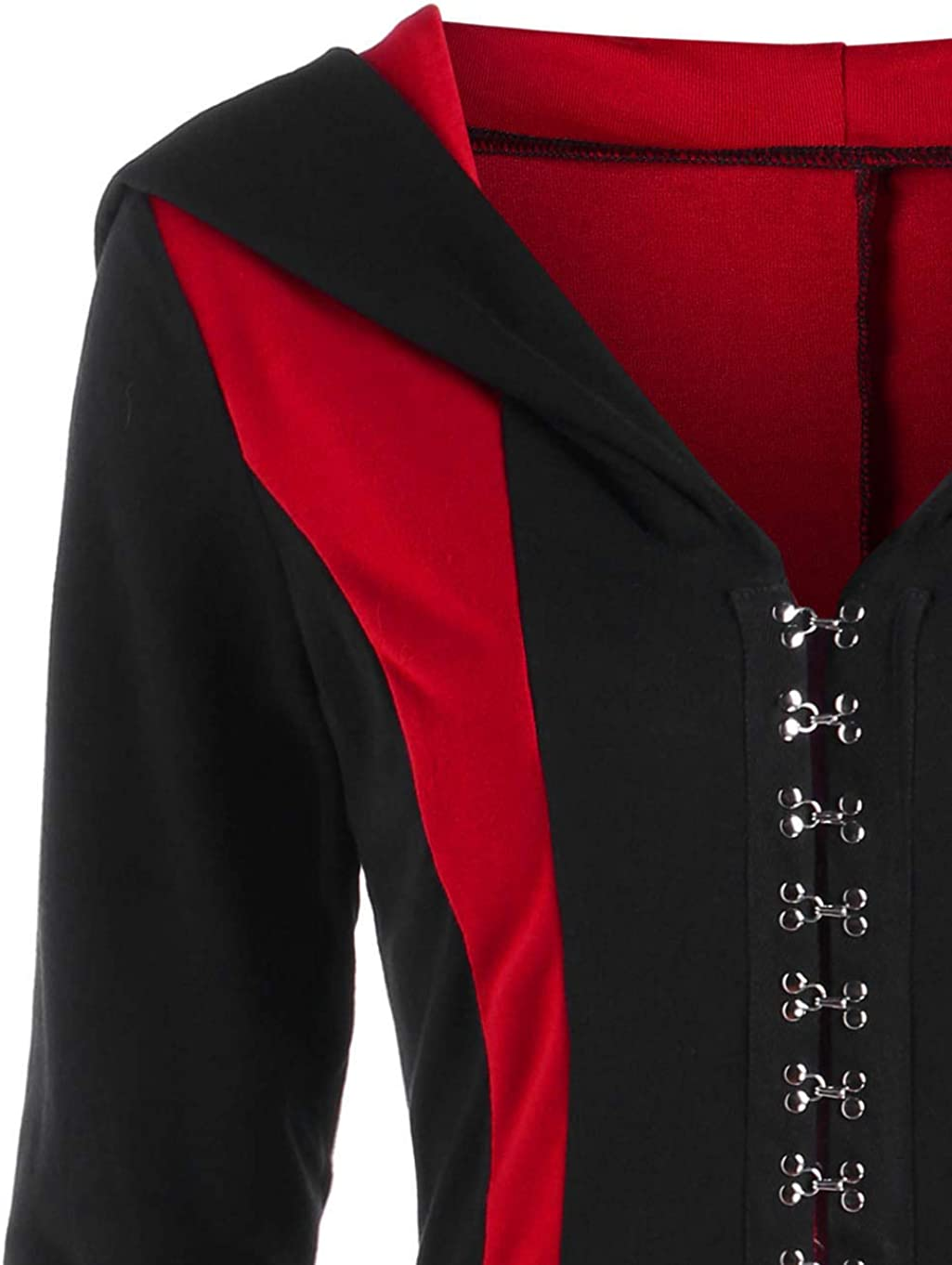 Alangbudu Women Halloween//Christmas Punk Hoodie Irregular Layered Tuxedo Jacket Slim Fit Tops Long Sleeve Outwear Coat