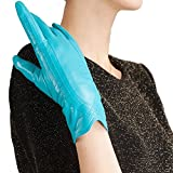 Nappaglo Nappa Leather Gloves Warm Lining Winter Handmade Curve Imported Leather Lambskin Gloves for Women (M, Blue)