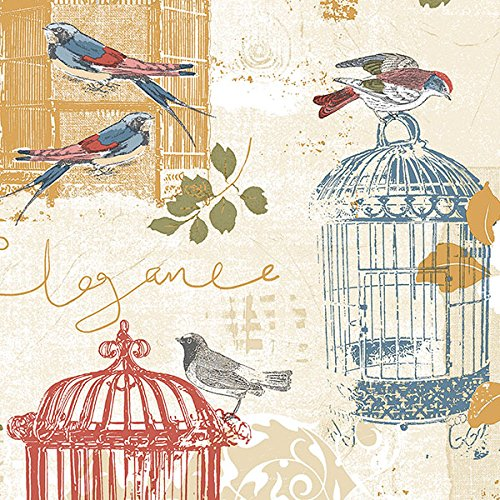 Manhattan Comfort NWKE29945 Waynesboro Birdcage Toile Textured Wallpaper, Red Yellow