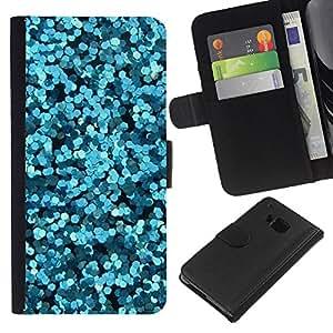 KLONGSHOP // Tirón de la caja Cartera de cuero con ranuras para tarjetas - Flores abstractas Mar Surf Buceo - HTC One M9 //