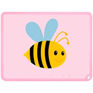 Silicone Kids Placemat, Non-Slip Cute Placemats for Kids, BPA Free Dining Food Mat for Children Baby Toddler (Bee, Baby Pink)