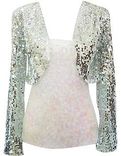Gladiolus Femmes Paillettes Sequins Manches Longues Couleur Unie Bolero  Recadrée Veste Boléros 57564df7d358