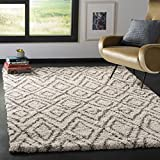 Safavieh Hudson Shag Collection SGH332A Ivory and Grey Area Rug (4′ x 6′) For Sale
