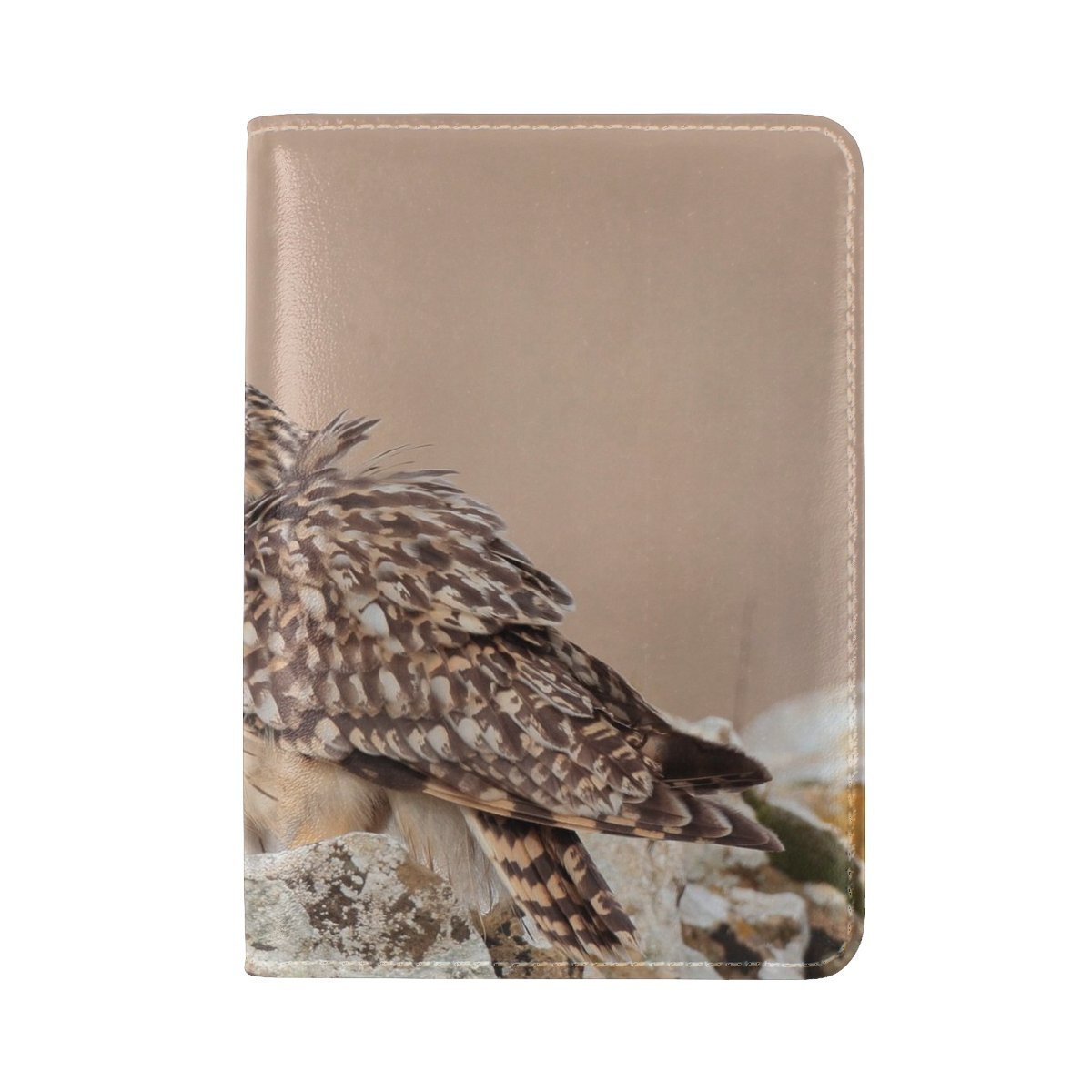 Animal Owl Short-eared Brown Wild Animated Autumn Taupe Stone Leather Passport Holder Cover Case Travel One Pocket