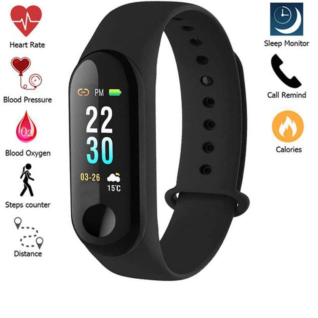 AMIDE BY AD Water/Sweat Proof Smart Band with Heart Rate Sensor for All  Devices (Black, Small)
