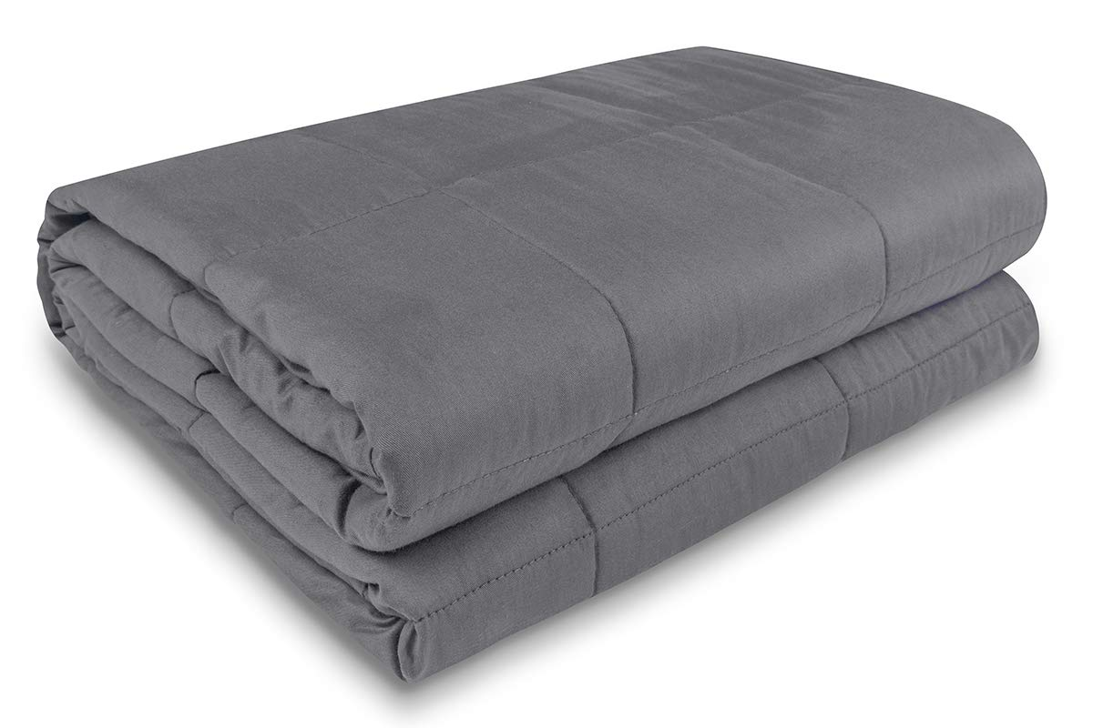 Meiz Cooling Weighted Blanket | (20 lbs, 60''x 80'') | Weighted Blanket for Adults | Heavy Blanket for Anxiety Adults | 100% Cotton Blanket with Glass Beads | Grey by Meiz