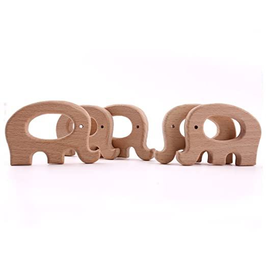 2 Stücke Holzperle Armband Elefanten Beißring Fisch Kinderkrankheiten Baby