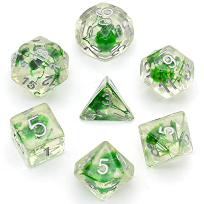 Green Flowers Dice Sets Polyhedral DND Dice for Dungeons and Dragons Role-Playing Tabpletop Game: Toys & Games
