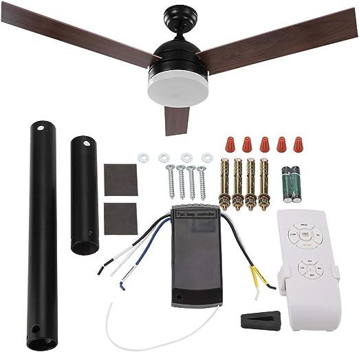Ventilador de techo, 52 pulgadas, ventilador de techo Blades, luz LED con mando a distancia: Amazon.es: Iluminación