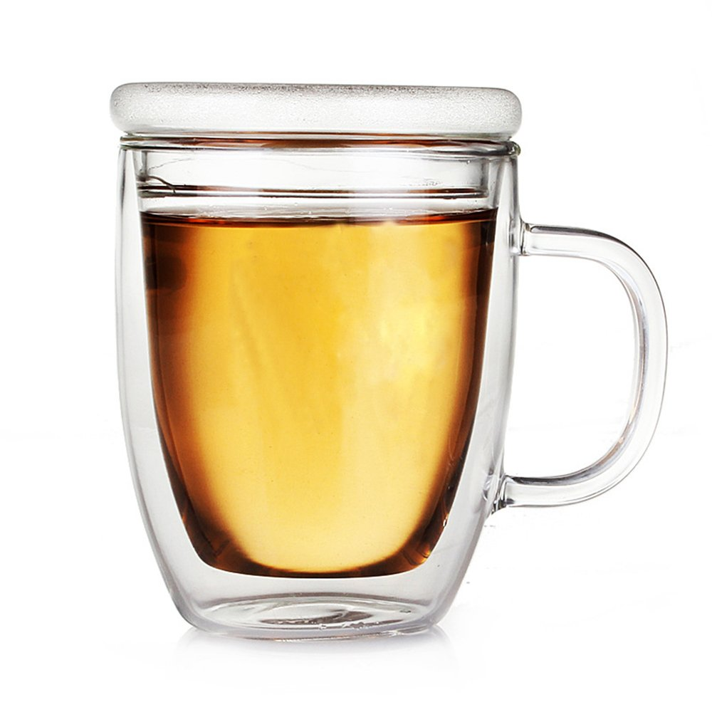 Luxtea 350ml/12.5oz Insulating Teacup Double Layer Glass Mug Heat Resistant Cup With A Glass Lid for Infusing Coffee, Milk, Tea, etc