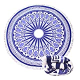 Genovega Thick Round Beach Towel Blanket - Blue Indian Large Microfiber Terry Circle with Tassel