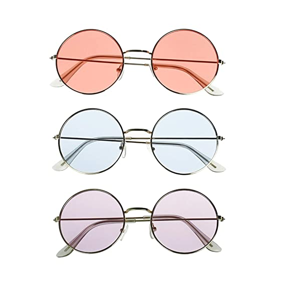 c276737563ee Amazon.com: lieomo John Lennon Hippie Style 60's Style Circle Sunglasses– Glasses Favors, Costume and Party Accessory - 3 Pack(Pink Purple and Blue):  Toys & ...