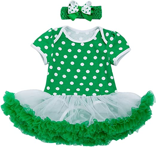 Liqiqi St. Patricks Day vestido trébol + gorro arco verde niña ...