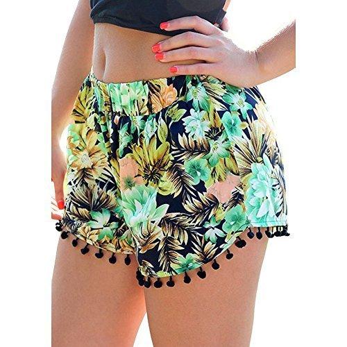 Women%27s+Small+Balls+Tassel+Edge+Floral+Print+Beach+Shorts%2CYellow%2FGreen