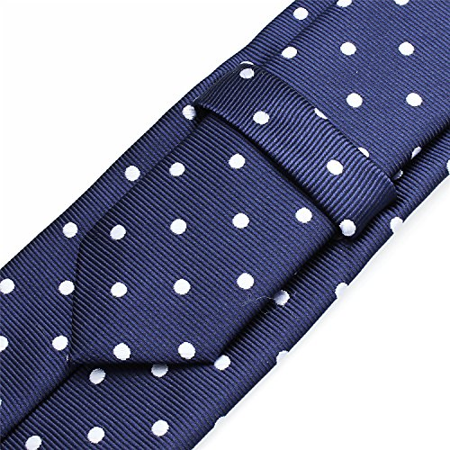 Mens Shinny Ties Polka Dots Polyester Necktie with Tie Bar Clip (2.5 inch Necktie) by HAWSON (Image #3)
